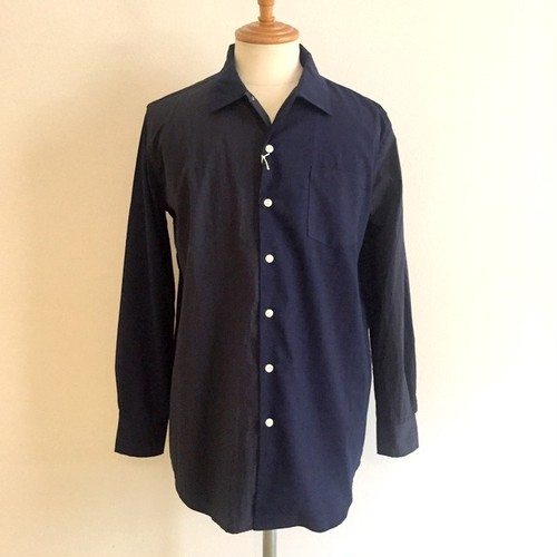Switch Loose Size Open Collar Shirts Navy Check × Navy