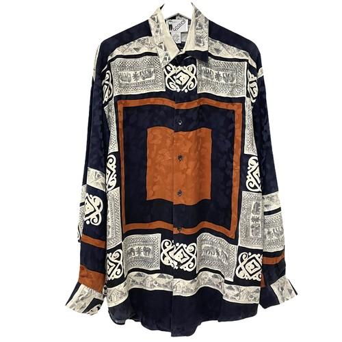 Dead Stock 90's GOOUCH Silk Shirt 【 NAVY × BROWN 】