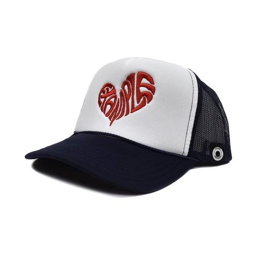 HEART MESH CAP / NAVYxWHITE