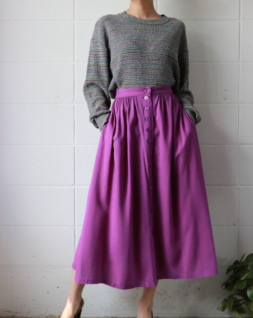 purple long skirt