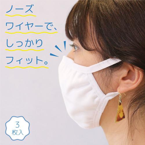 ノーズワイヤー付き 立体布マスク (3枚入り)