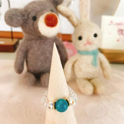 ターコイズと水晶のリング