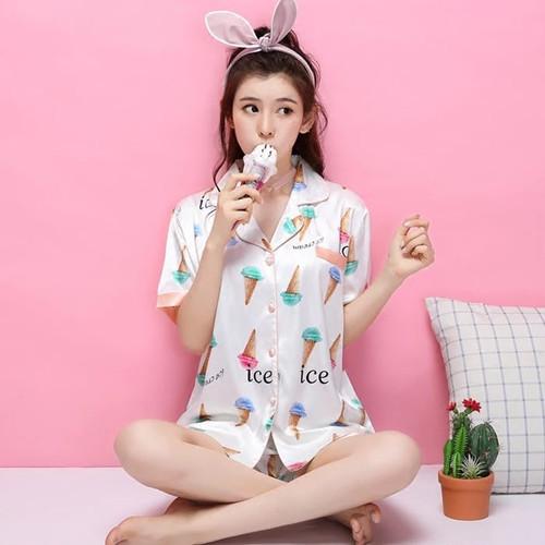 アイス柄 パジャマ 半袖シャツ&ショートパンツ セットアップ ルームウェア 部屋着
