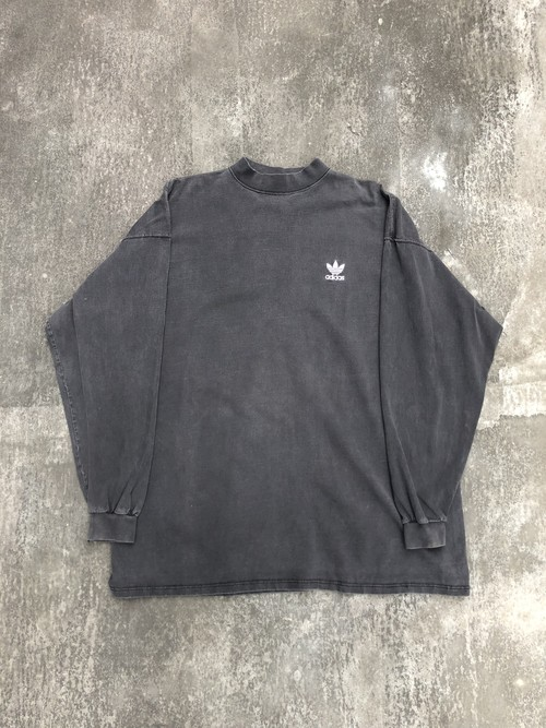USED / trefoil logo embroidery adidas mock neck L/S