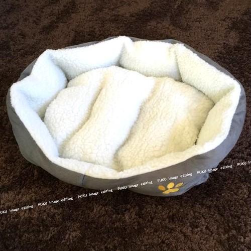 犬猫用 ベッド グレー 【Mサイズ】