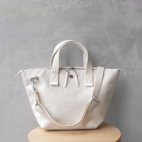 CaBas N°33 Bowler bag small + Shoulder strap White/White