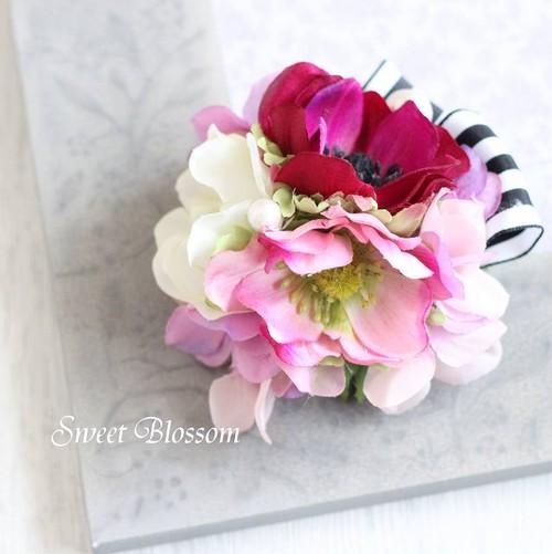 【アーティフィシャルフラワー】アネモネのコサージュ(ピンク)
