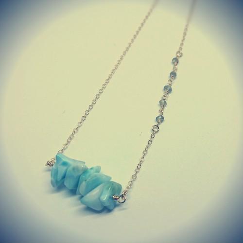 天然石✨カリブ海の宝石ラリマーシリーズ✨ラリマーとラブラドライトのネックレス✨