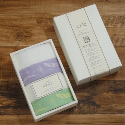 無撚糸高級ハンドタオル2枚SET GREEN  /  PURPLE