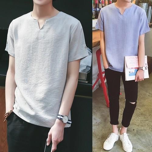 【売り切れ間近】ラフ襟韓国風Tシャツ 2カラー