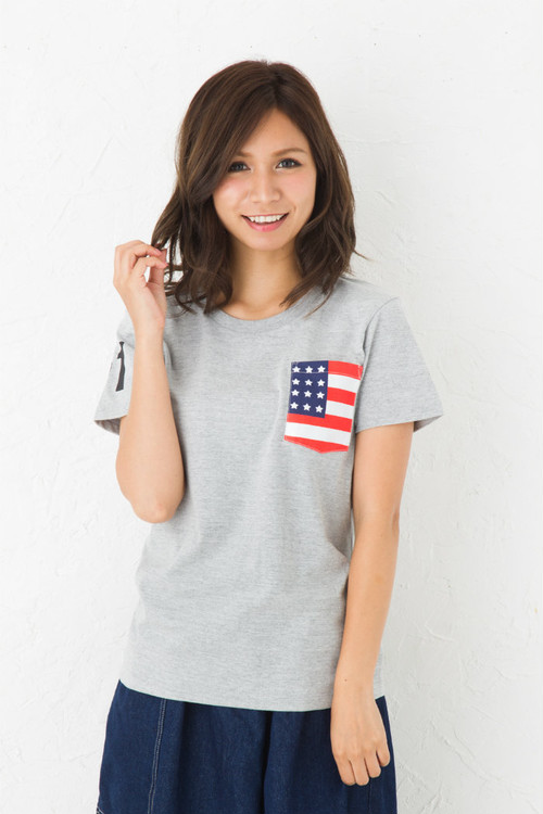 お揃い ペアルック 星条旗 プリント ポケット Tシャツ 半袖 | ビックポケット アメリカ USA 国旗 父の日 ギフト Tシャツ 5.6オンス
