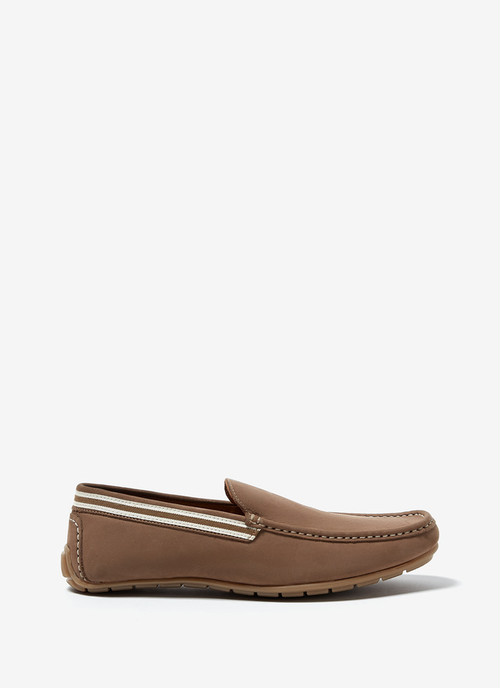 NUBUCK LEATHER MOCCASIN WITH RUBBER SOLE