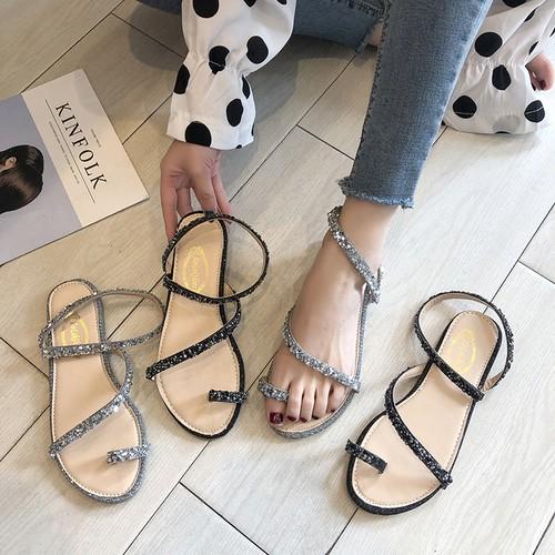 フラットサンダル ラインストーン ストラップ 韓国ファッション レディース ぺたんこ サンダル キュート 痛くない かわいい 靴 歩きやすい