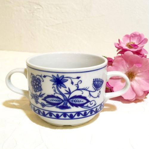 """50's Vintage """"KAHLA"""" Blue Onion Style Design Soup Cup   [CCV-14]"""