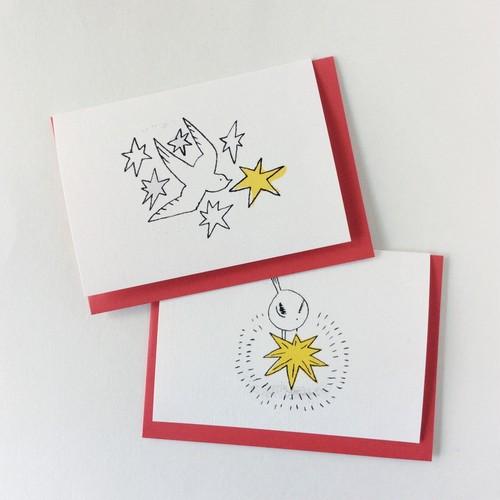 クリスマスカード ハト、エナガ