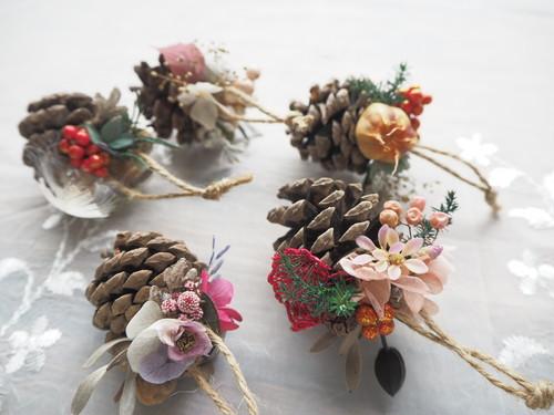 クリスマスオーナメント5個セット<Romantique> * クリスマスツリー・ガーランド・プリザーブドフラワー