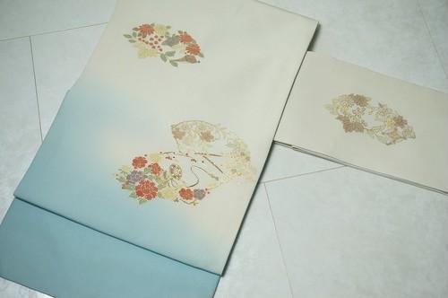 クリーニング済 名古屋帯 九寸 帯 牡丹 花柄 白 リユース リサイクル 003