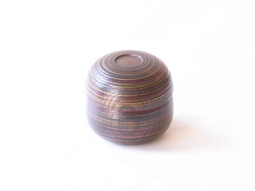 山中塗 木製 くりぬき コマ筋 小鉢 蓋物