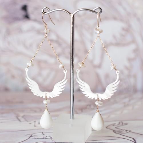 MOEMI SUGIMURA Wing shell earrings