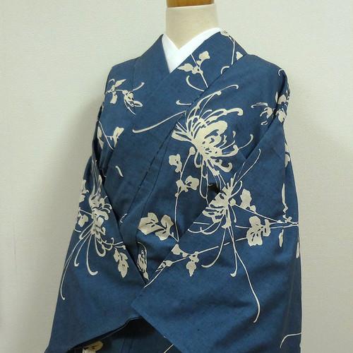 単衣 渋い青色に菊 後染め紬