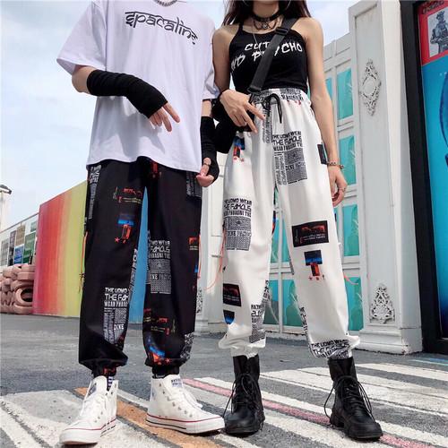 【ボトムス】ファッションストリート系プリントハイウエストレギュラー丈アルファベットカジュアルパンツ26401260