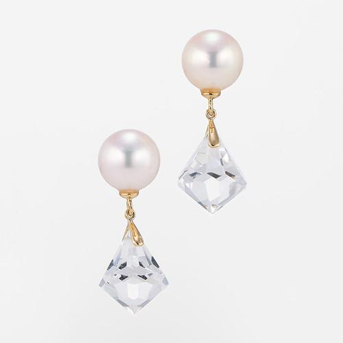 Pure K18YG Pearl Crystal Pierce (パール クリスタル ピアス)