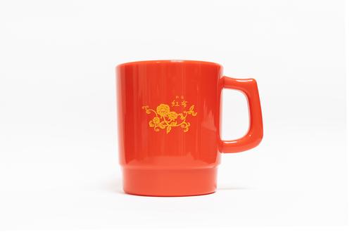 紅布花柄ロゴ マグカップ