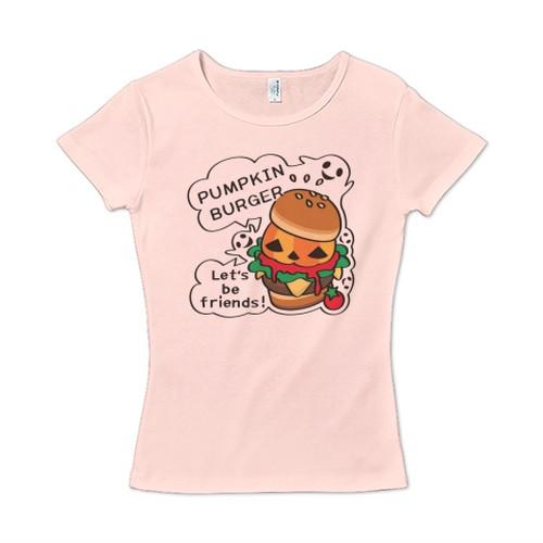 キャラT14 Gz かぼちゃバーガー レディースタイプ6.2オンス CVC フライス Tシャツ