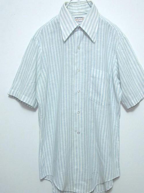 1970's Arrow ブロックストライプガーゼS/Sシャツ 水色×白 USA製 表記(14 1/2)