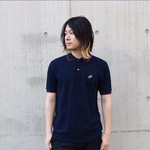 レコードワッペンポロシャツ ネイビー WATERFALLオリジナル メンズ 綿カノコ素材