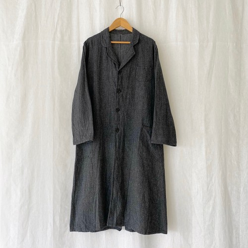 FRANCE 40s〜vintage black chambray atelier coat/shop coat DEAD STOCK/ONE WASHED