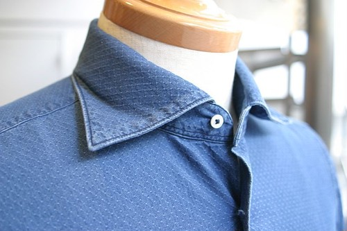 Care Label Jacguard wide collar shirt (#7900)