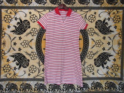 国内古着プリントTシャツレディースL赤青黄ボーダーポロシャツMcGREGORマックレガー綿100美品ワンピース