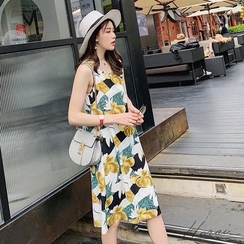 膝下ワンピース Aラインワンピース 花柄 リゾート ノースリーブ ラウンドネック ゆったり 春夏 きれいめ 20代 30代