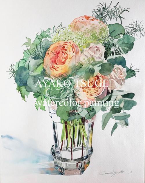 F6サイズ バラの水彩画描きおこしオーダー