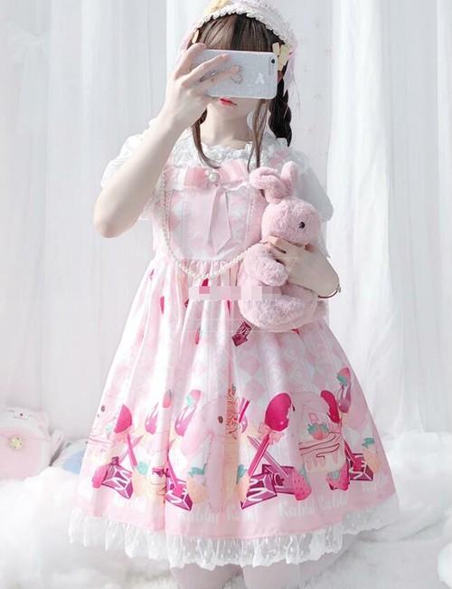9883ロリータ服 ロリータ衣装 可愛い 少女風 日常 ワンピース キャミソールワンピース フリル lolita