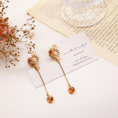 orange crystal pierce/earring