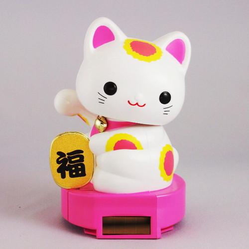 ソーラー赤ちゃん招き猫 (ピンク)