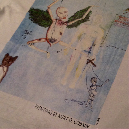 Vintage 90s KURT COBAIN Art by himself painting Tee
