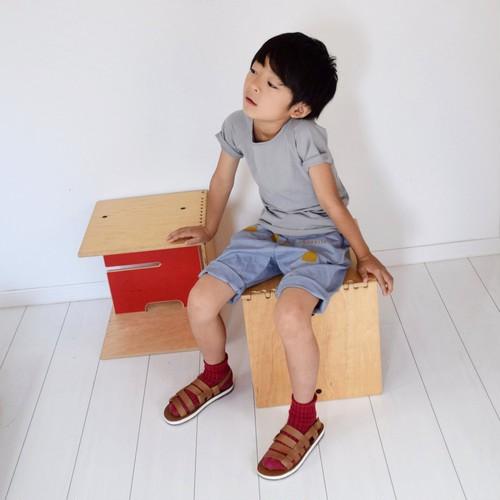 """MOONRISE""Shorts/ペールブルー×カーキ(130サイズ)"