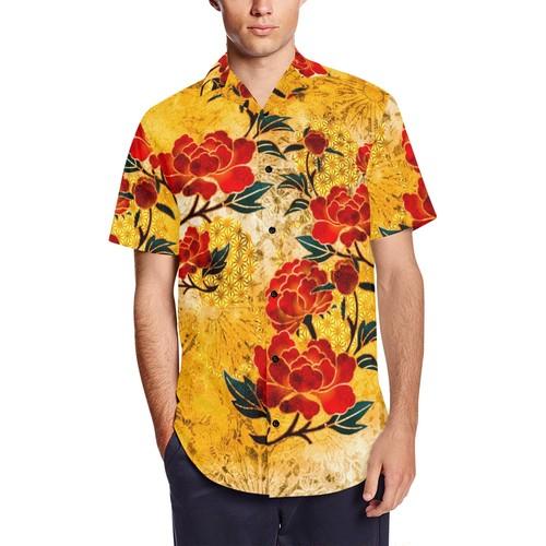 牡丹家紋黄 和柄アロハシャツ