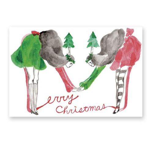 christmas card 女の子の木