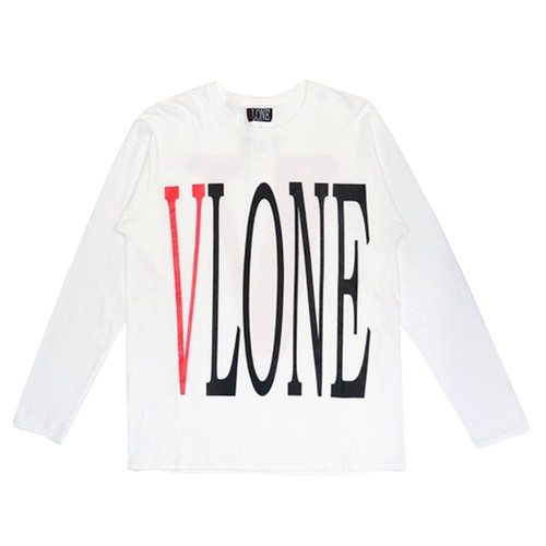 VLONE Logo L/S T-Shirts WHITE × RED