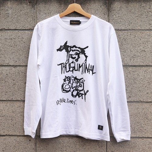 "L/S TEE ""THUGLIMINALOGY"" (WHITE) / GAVIAL"