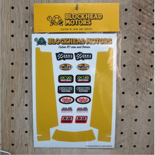 BLOCKHEAD MOTORS シャーシ用デカールセット:イエロー(ホーネット・グラスホッパー用)