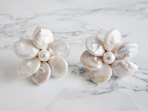 coin pearl flower pierce,earring