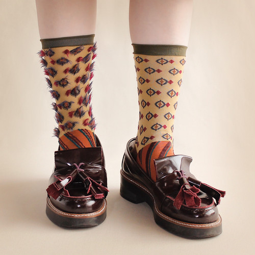 【COQ textile】Nuts&Twig・ソックス(ブラウン)/ リバーシブル仕様