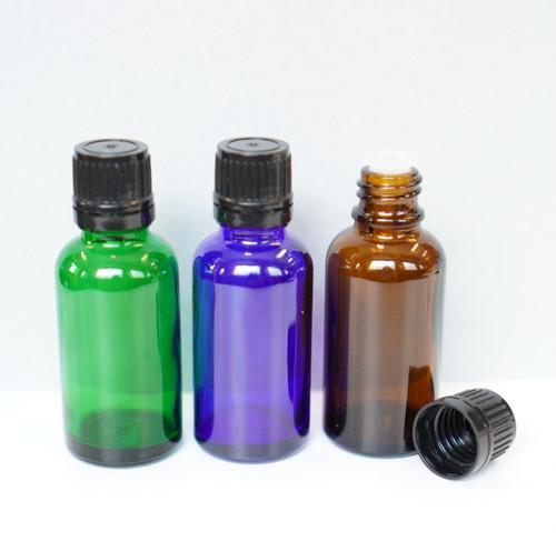 【遮光性 精油用ボトル】30ml ガラス製 ドロッパー エッセンシャルオイル アロマ 保存 容器 詰め替え ブラウン グリーン ブルー