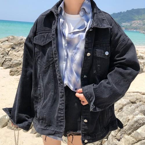 【アウター】売れ筋シンプル折り襟デニム切り替えジャケット26718080