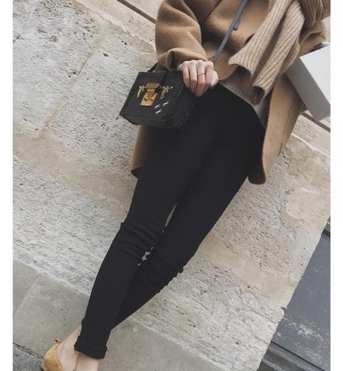 raised back stretch black pants(b_7)